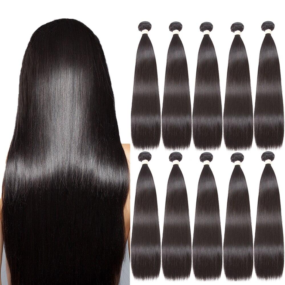 Luxediva ישר שיער טבעי חבילות 5pcs 10 pcs סיטונאי ברזילאי שיער אריגה טבעי בתפזורת מכירה 8-30 אינץ הרחבות עסקות