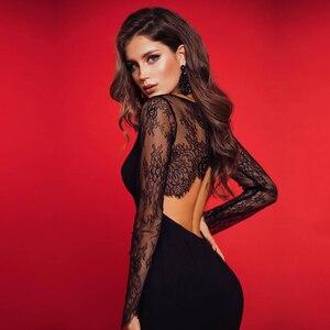 Image 1 - Adyce 2020 nuevo encaje de otoño vestido ajustado de manga larga para mujer Sexy ahuecado negro Club Midi celebridad vestido de noche de fiesta de la pasarela