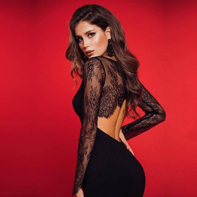 Adyce 2020 nuevo encaje de otoño vestido ajustado de manga larga para mujer Sexy ahuecado negro Club Midi celebridad vestido de noche de fiesta de la pasarela