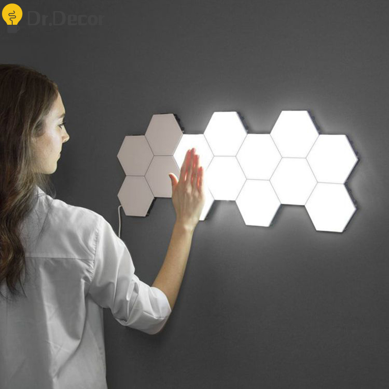Modern Art LED Wall Lamp Quantum Lamp Touch Sensitive Lighting Night Light Magnetic Hexagons Home Decoration Wall Sconce Lamp
