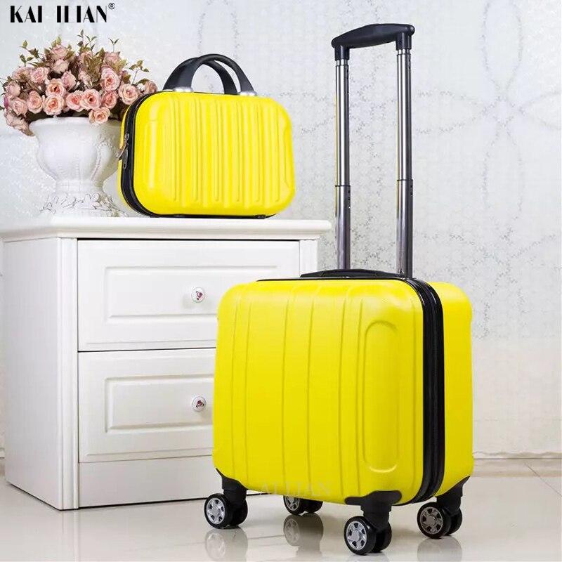 18 אינץ ABS מטען תא מטען המתגלגל של ילד סט נשים נסיעות עגלת מזוודת עם גלגלים לשאת על בנות מזוודה סט