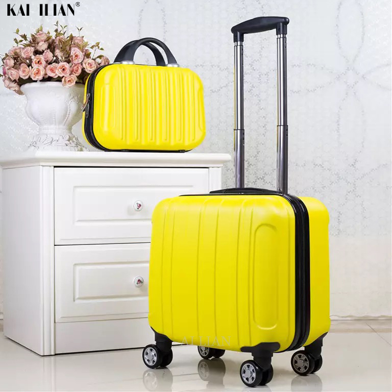 18 Inch ABS Cabin Luggage Kid's Rolling Luggage Set Women Travel Trolley Suitcase With Wheels Carry On Girls Suitcase Set