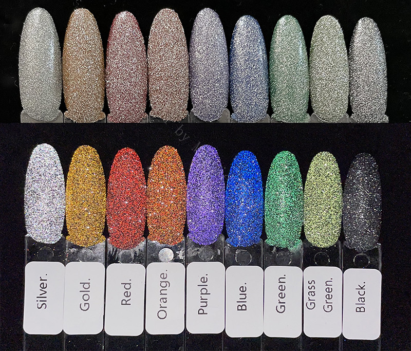 8 цветов, украшенные сверкающим бриллиантом для ногтей порошок тестер лазерного Красного светоотражающий; Туфли со стразами пыли тени блес...