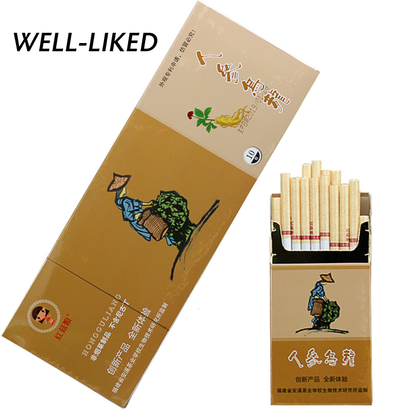 1 Pack Ginseng Oolong Tea Tobacco Cigarette Herb Clearing Lung To Quit Smoking No Nicotine & Tobacco Fine Cigarettes Wholesale