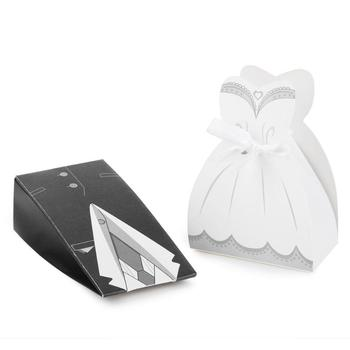 Practical 50pcs Bride Groom Dresses Wedding Candy Box Unique Design Excellent Quality Gifts Favor Bags Wedding Bonbonniere image