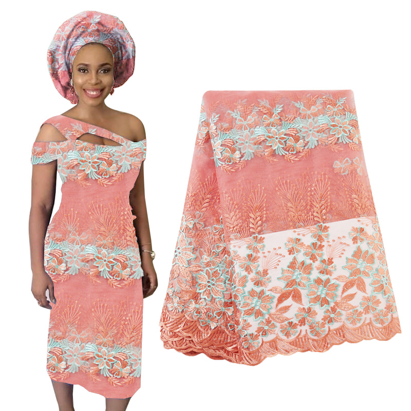 Best Selling Beaded Lace Fabric For Wedding Fabric Flowers Nigerian French Tulle Lace Fabric 2019 High Quality Lace 5 Yards