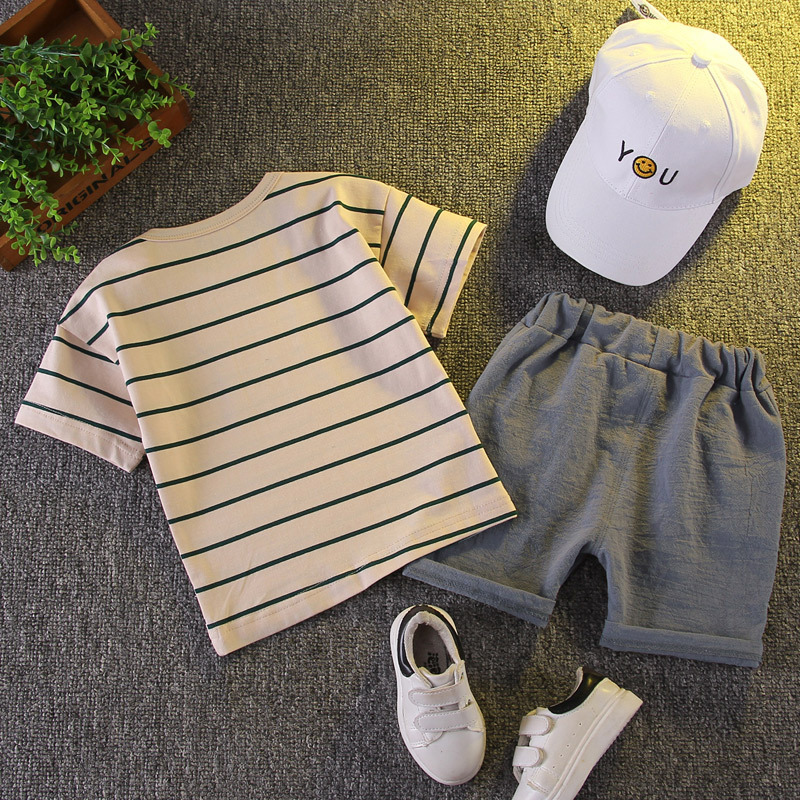 Boy Baby Clothes 2021 New Summer Toddler Set Striped T-shirt + Shorts Cotton Children Clothing Short Sleeve Outfit 1 2 3 4 Years 2