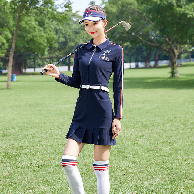 Send Belt! Spring Apparel Women Long Sleeve Dress Golf Wear Lady Dark Blue Slim Anti-Sweat Siamese Skirt Winter Shirt MG Clothes 1