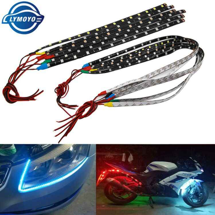 1 Pcs 30 Cm 60 Cm Mobil Auto Dekoratif Lampu Colorful LED Strip 5050 Flexible Strip Lampu Tape Siang Hari lampu DRL Angel Eyes