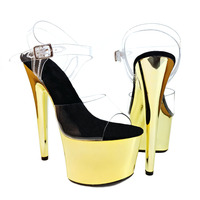 Leecabe Sexy Pole Dancing Shoes 17 CM High Heels Shoes Platform Thin Heels Sandals Model Dance Shoes 7inches