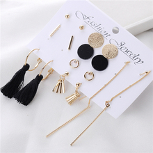 8 Pairs/Set Popular Fringed Chain Tassel Drop Earrings Fashion Earrings for Women 2019 Statement Set of Earrings for Everyday alloy rhinestoned fringed chain earrings
