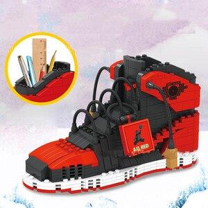 474pcs sports shoes building block pen holder sports basketball shoes small particles bricks Pencil-box toys for Children