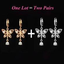 2 пар/лот милые серьги бабочки золотые кольца для женщин корейские