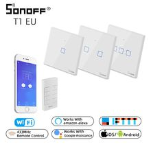 SONOFF TX T1 EU 1/2/3 Gang Wall Light Touch Switch Panel Wifi RF 433mhz Remote Control eWelink Support Smart Google Home Alexa sonoff t1 smart switch panel eu 1 2 gang wireless wall smart touch on off plate works with alexa nest