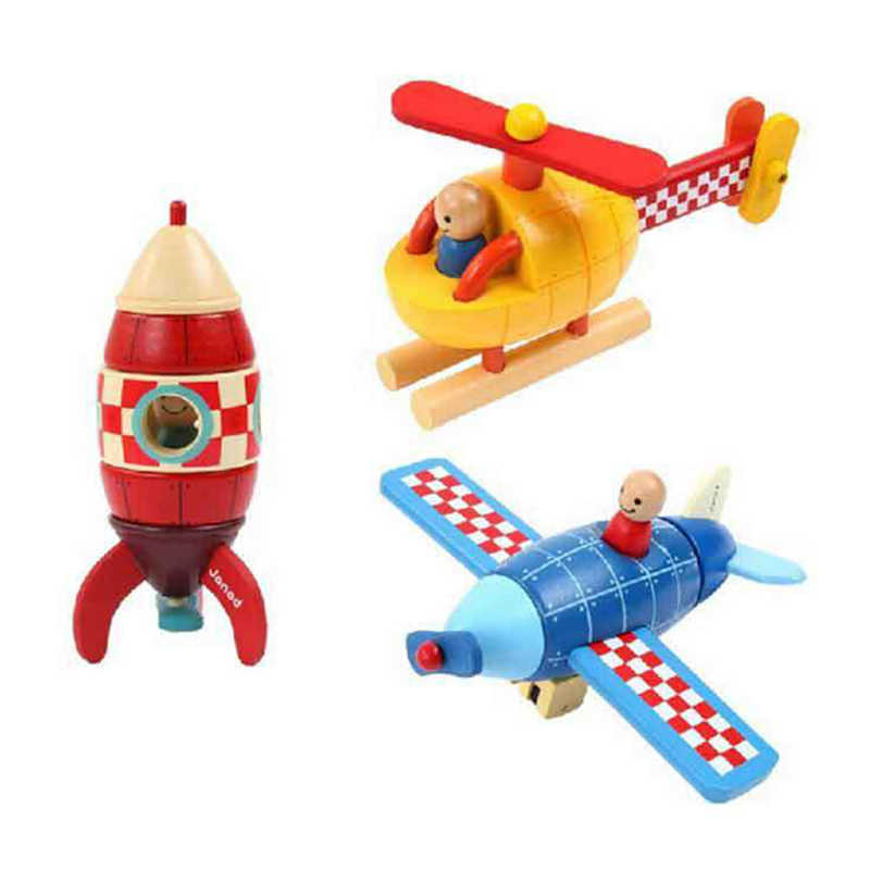 Kids Cartoon Plane Model Toys Baby Wooden Magnetic Disassembly