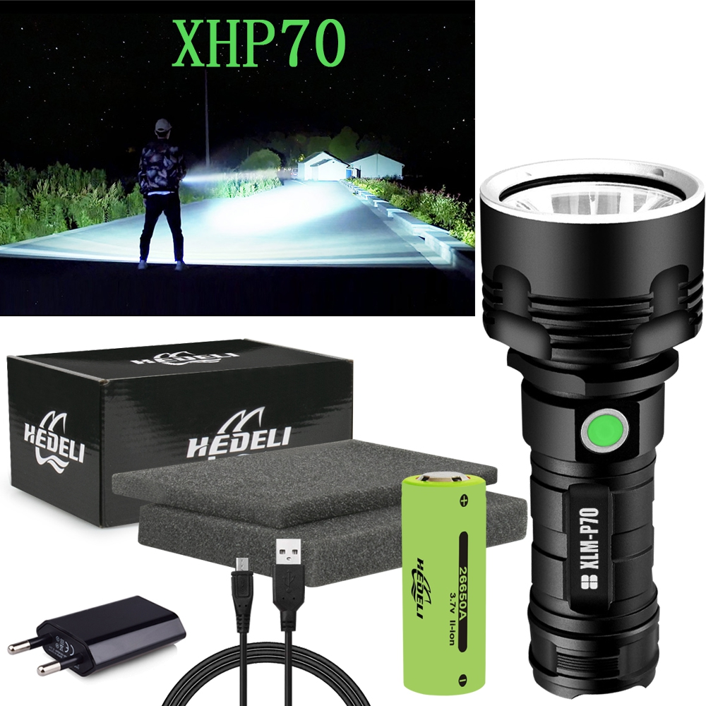 300000 Lm Powerful Led Flashlight Xhp70 Flash Light Xml L2 LED Torch Rechargeable USB Waterproof 18650 OR 26650 Torch Hand Lamp