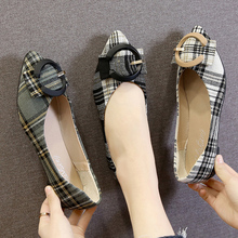 2020 Spring Women Flats Pointed Toe Slip on Shoes Woman Loafers Buckle Casual Shoes Plaid Flats Ladies zapatos mujer 8025N