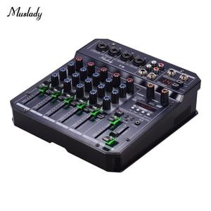 Image 5 - Muslady T6 tarjeta de sonido portátil de 6 canales, consola mezcladora de Audio con potencia Phantom de 48V integrada, compatible con conexión BT, DJ en vivo