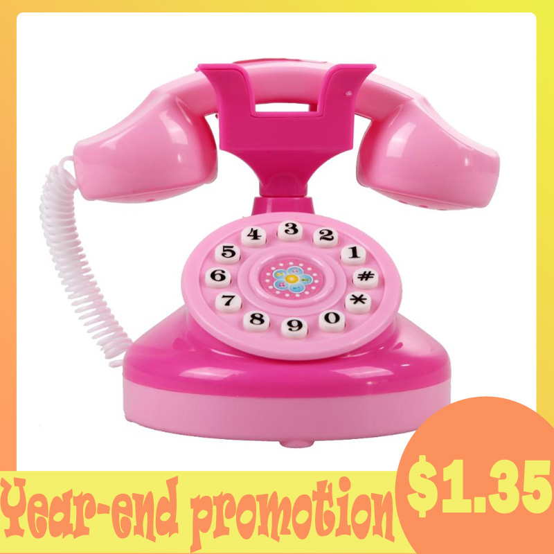 Pink Phone Toy Children Educational Emulational Plastic Phone Pretend Play Toys Girls Electronic Pink Toy Phone Gifts