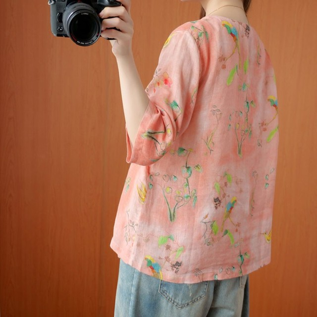 Oversized Women Cotton Linen Blouses Shirts New 2020 Summer Vintage Style V-neck Floral Print Female Loose Casual Tops S1668 4