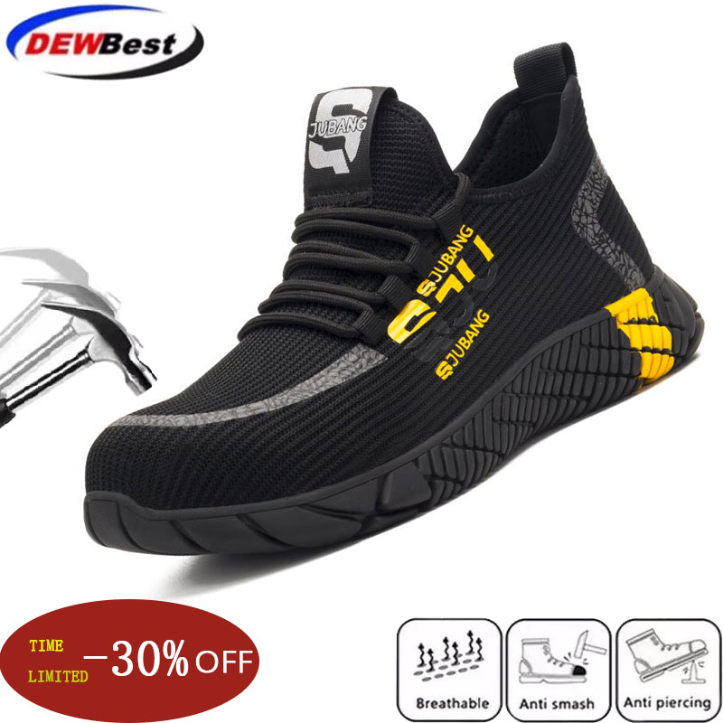 New Fly-textured Labor Insurance Shoes Men's Fashion Casual Lightweight Anti-piercing Work Shoes Wear-resistant Non-slip Safety