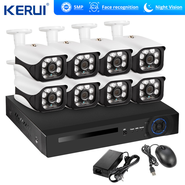 KERUI Face Recognition POE NVR 8CH 5MP Wireless NVR Security Camera System Outdoor IR CUT CCTV Video Surveillance Video Recorder