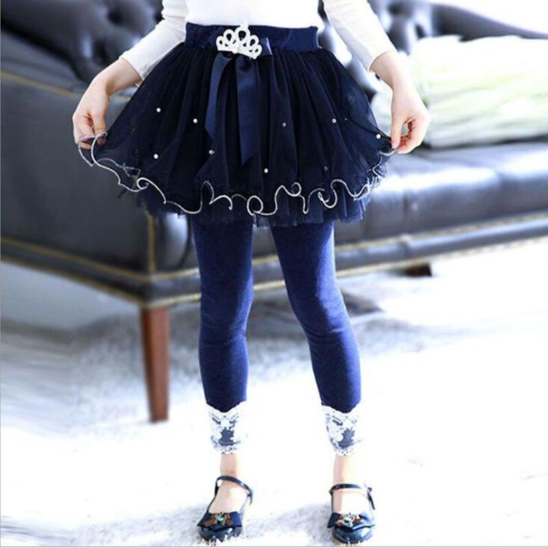 Lememogo 3-9Y Girls Leggings Autumn Fashion Elastic Navy Color Lace Leggings New Girl Toddler Trousers Kids Pants Skinny Legging