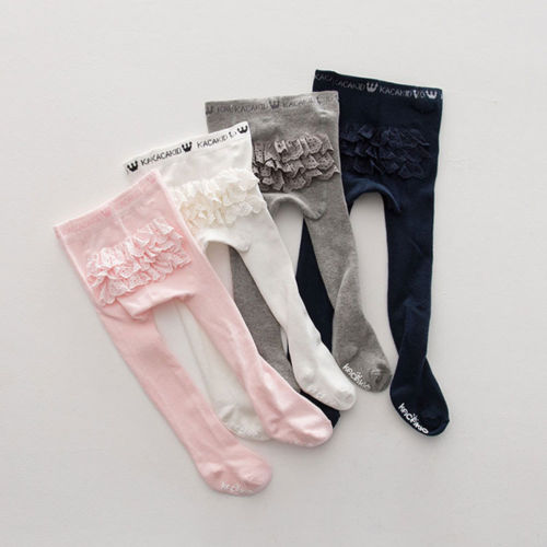 Autumn Leggings Clothing Girls Cotton Plain Toddler Baby Tights Newborn Heart Ruffled Solid Pantyhose 4 Style 0-4T
