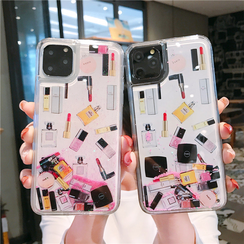 Iphone 11 pro max 7 8 6 6s 6 plus xr xsmax xs 폰 케이스 화장품 메이크업 dynamic glitter liquid quicksand cover bag coque image