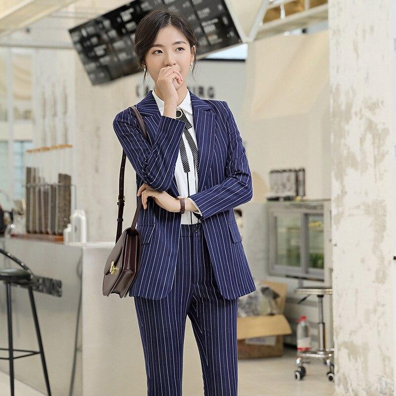 Black Stripes Formal Elegant Women's 2 Piece Set Pants Suits Blazer Jacket Office Lady Work Business Uniform Trousers Clothing