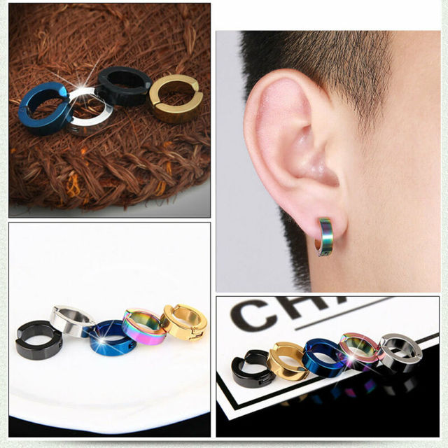 1pcs Mens Punk Stainless Steel Non Piercing Clip On Ear Stud Hoop Earrings Gift.jpg 640x640 - 1pcs Mens Punk Stainless Steel Non-Piercing Clip On Ear Stud Hoop Earrings Gift