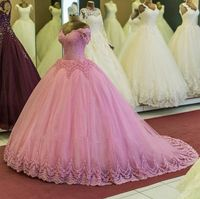 Ball Gown Quinceanera Dresses Sweet 15 16 Pink Lace Formal Party Dress Off The Shoulder Carnival Dress