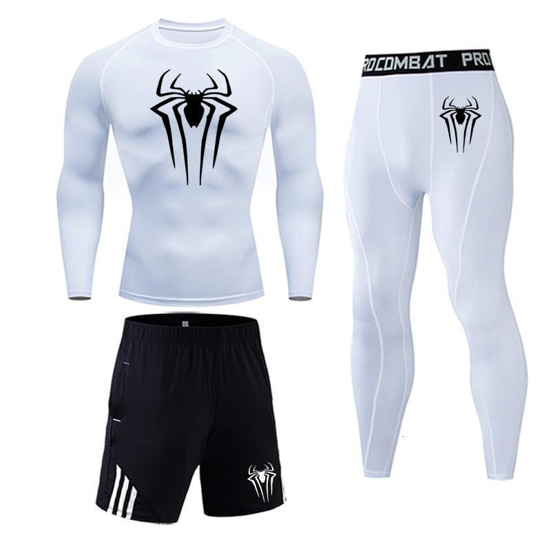 New Spiderman Men's Running Tights Long T-Shirt Compressed Pants Shirt 3 Piece Tracksuit Men Base Layer Sports Suit Rashgard Set