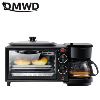 DMWD 3 In 1 Electric Breakfast Machine 220V Toaster Oven Home Coffee Maker Pizza Egg Tart Oven Frying Pan Bread Maker