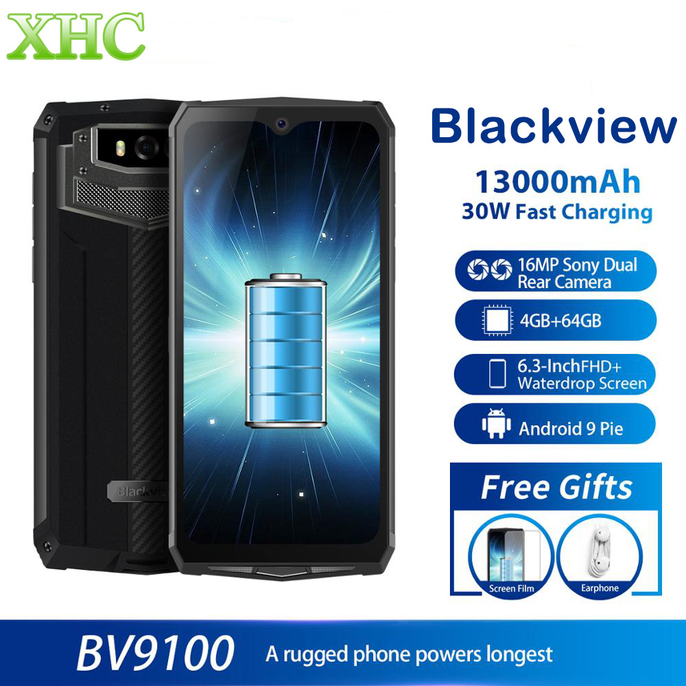 IP68 Rugged Blackview BV9100 6.3'' FHD+ 13000mAh Smartphone 4GB 64GB Helio P35 Octa Core Android 9.0 Mobile Phone Dual SIM NFC