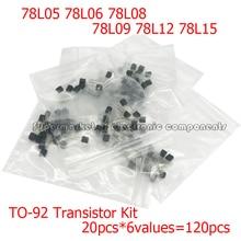 20pcs*6values=120pcs 78L05 78L06 78L08 78L09 78L12 78L15 TO92 TO-92 Transistor Kit 78L Series Voltage Regulator Package Assorted