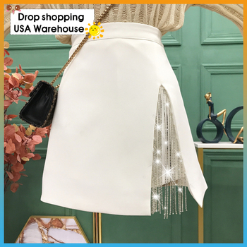 цена на Rhinestone chain fringed split skirt  high waist  A-line Mini dress 2020 Autumn Fashion New skirt For Women Streetwear