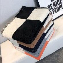 Manta h manta de caxemira crochê lenço de lã macia xale portátil quente sofá cama velo malha throw cape marca cobertor 140x170cm