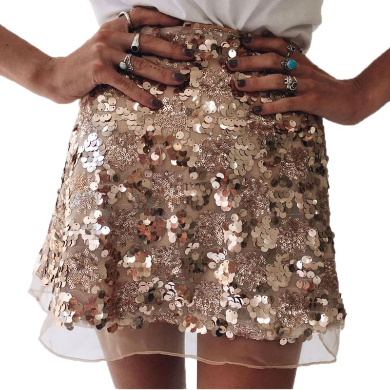 Women Fashion <font><b>Rose</b></font> <font><b>Gold</b></font> Sexy Short Sequined <font><b>Skirt</b></font> Lace Club Mini Vintage A Line image