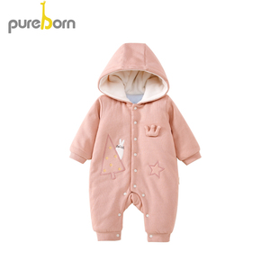 Image 2 - Pureborn Newborn Unisex Baby Romper Fleece Lined Hooded Baby Girl Clothing Baby Boy Winter Jumpsuit Outfit Christmas Costumes