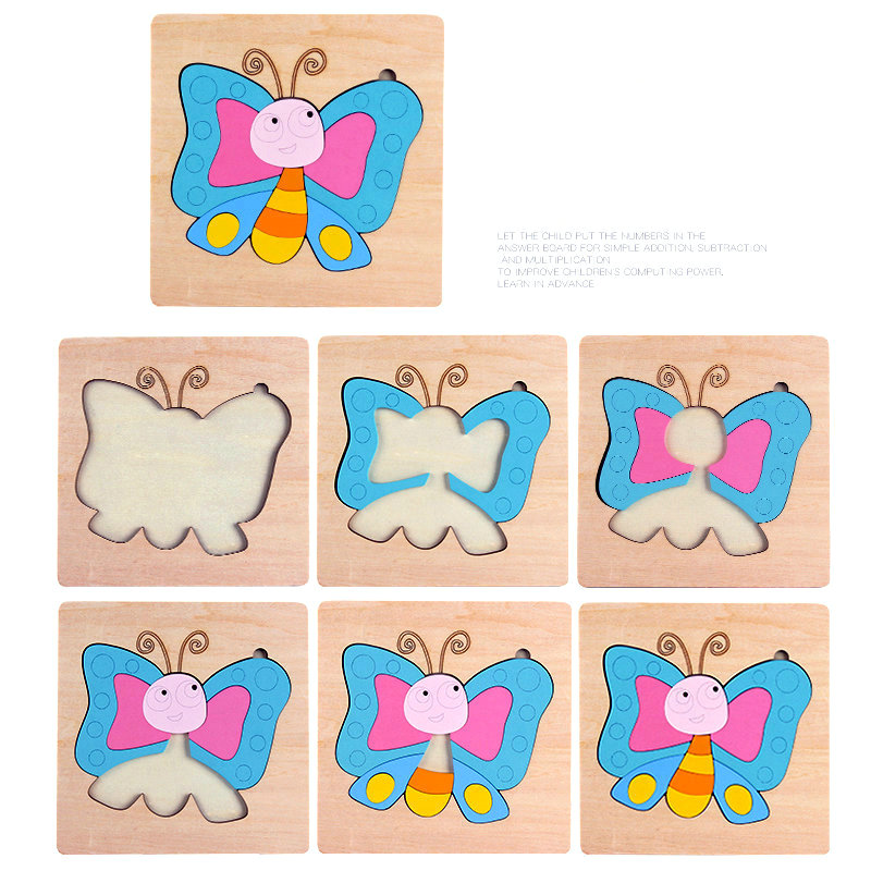 Cartoon Animal Memory 3D Puzzles Children Educational Wooden Toys Butterfly Caterpillar 12style Wood Jigsaw Montessori Baby Gift