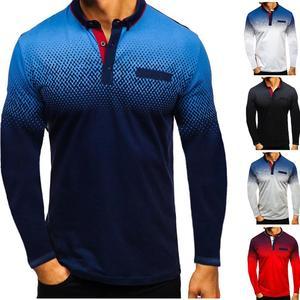 Image 5 - Новинка осени 2019, модная футболка поло для мужчин, хлопковая Повседневная рубашка поло с длинным рукавом, Мужская Высококачественная рубашка поло с отложным воротником