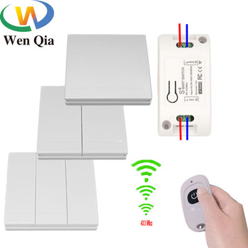 220v remote switch 30a relay 3pcs receiver wall panel transmitter wireless light lamp led pump power switch learning code 315mhz Wenqia 433Mhz switch Universal Wireless Remote Control  AC 220V 10Amp 1CH RF Relay Receiver  Transmitter for LED/Light/fan lamp