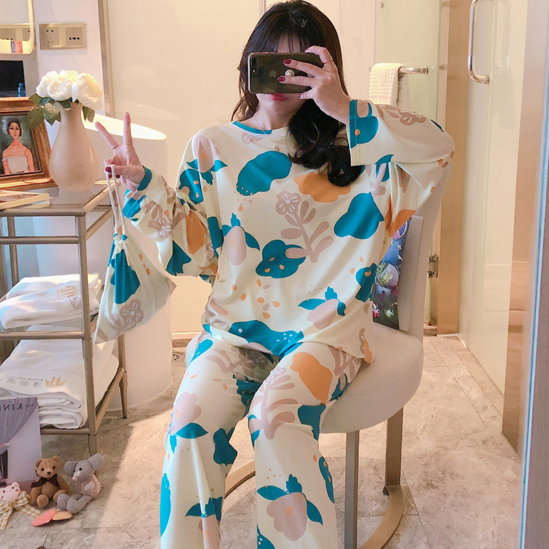 Women Pajamas Set 2020 Spring Autumn New Style Cute Print Womens Luxury Nightwear Clothes Loose Pajamas For Women Send Same Bag