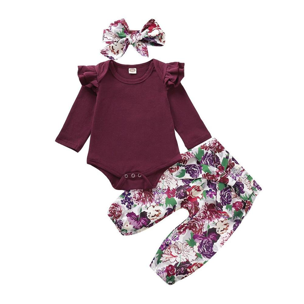 Fashion Newborn Baby Girls Tops Romper Floral Pants Headband Outfits Set Clothes
