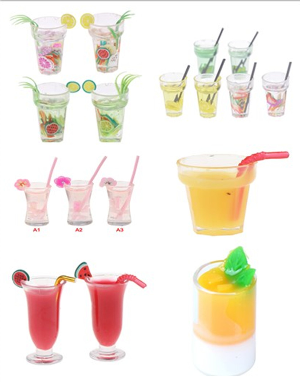1:12 Scale Cup Drink Tableware Set For Dollhouse Miniature Toy Doll Food Kitchen Living Room Accessories