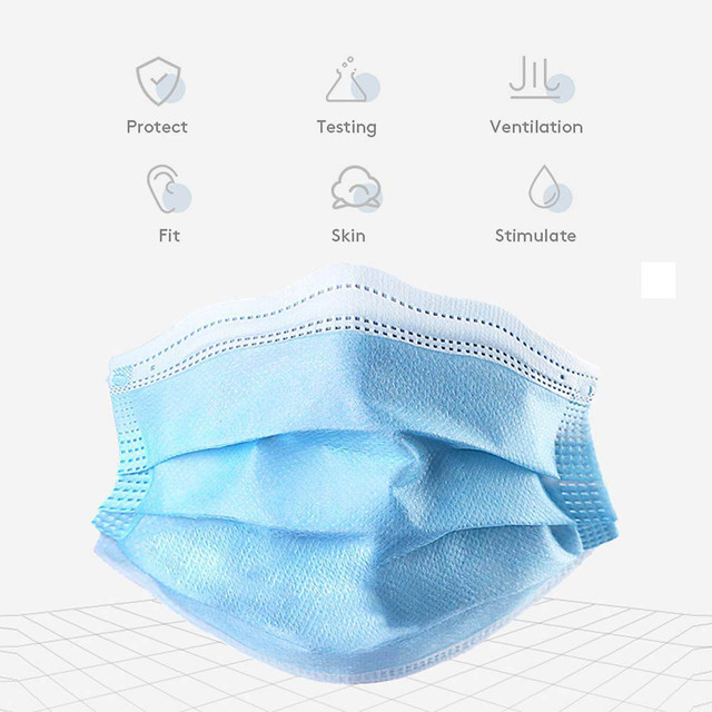 50Pcs/100pcs Mask Disposable Nonwove 3 Layer Ply Filter Mask mouth Face mask filter safe Breathable Protective masks 1