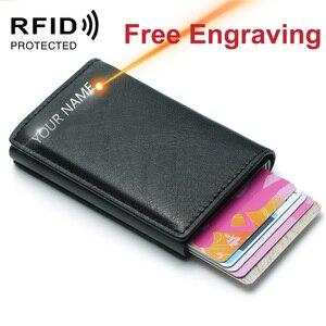Image 2 - Männer der Kreditkarte Halter Foto Gravur Anti RFID Blocking PU Kleine Brieftasche ID Karte Fall Metall Schutz Geldbörse Portomonee