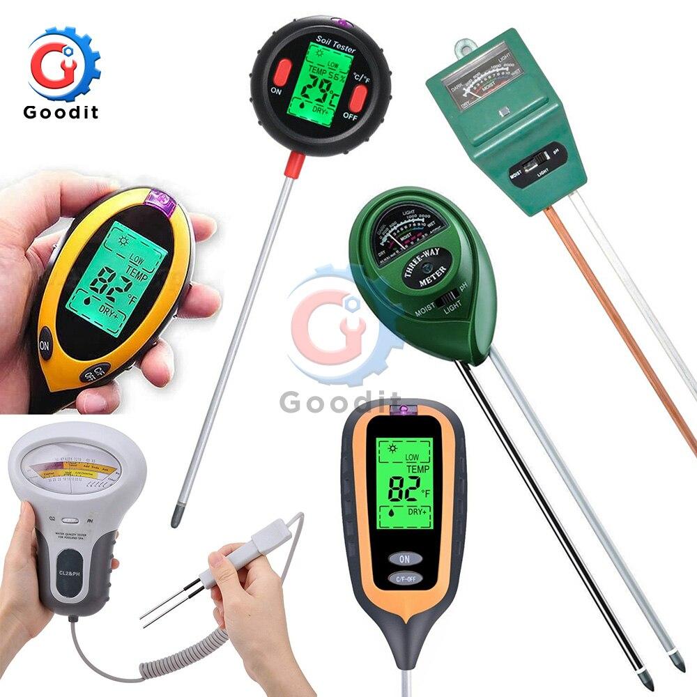 4 in 1 LCD Digital Measurement Analysis Acidity Alkali PH//Moisture//Sunlight//Temp