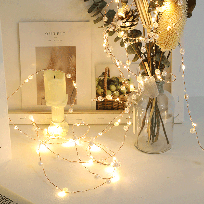 50 LED Copper Wire Jewelry Light String Battery-powered Fairy Wedding Party Christmas Decoration Lamp Room Garden String Light